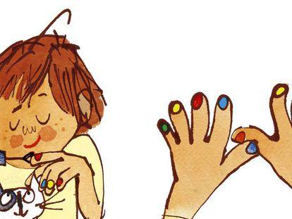 Ilustraciones de '¡Vivan las uñas de colores!'.