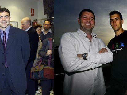 Carles y Sergio Busquets, en 2008. A la dercha, Manuel Sanchis y Manolo Sanchís, en 2000.