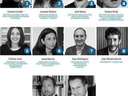 Grupo de expertos de Agenda Pública que analizan el debate electoral