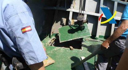 Caleta en el barco donde se ocultaba el hachís.