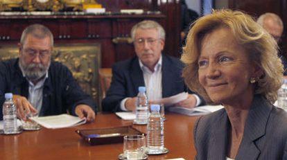 De izquierda a derecha, Méndez, Fernández Toxo y Salgado, en septiembre de 2009.