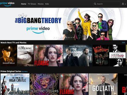 El menú de Amazon Prime Video.