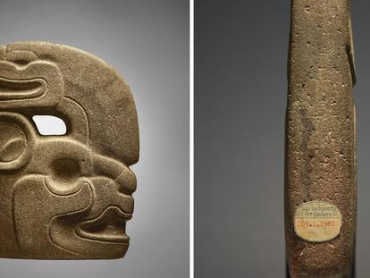 Dos ángulos del hacha maya subastada por 352.800 dólares en Nueva York este martes.