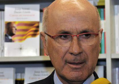 El presidente del grupo CiU en el Congreso, Josep Antoni Duran Lleida, hoy durante la presentación de un libro en Girona
