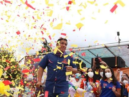 Andrés Arauz, candidato a presidente de Ecuador, cierra la campaña electoral en Quito, el 4 de febrero pasado.