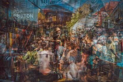 Una escena de Brixton, creada gracias a la superposición de fotografías.
