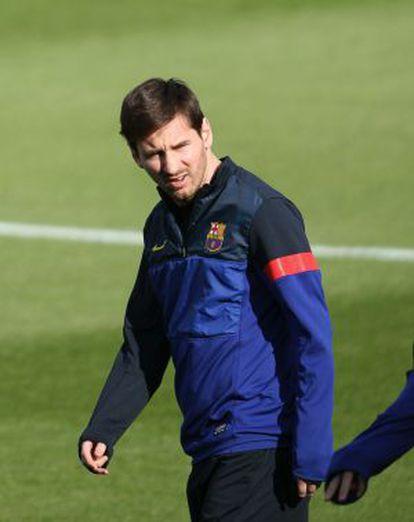 Messi, en el entrenamiento.