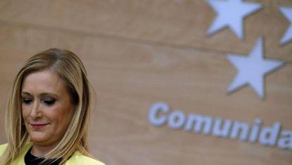 Cristina Cifuentes esta mañana en una rueda de prensa.