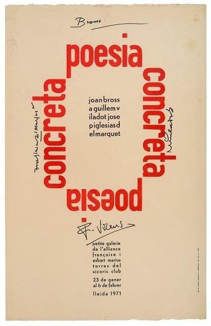 Cartel original de la exposición de Poesia concreta de 1971.