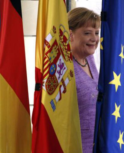 Angela Merkel, fotografiada el jueves en Madrid.