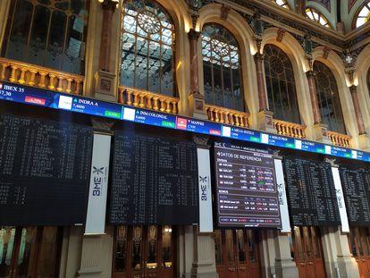 Paneles de la Bolsa de Madrid, el pasado viernes.