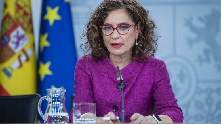 La Ministra Portavoz, Maria Jesus Montero, en una rueda de prensa posterior al Consejo de Ministros.