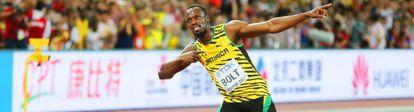 Bolt, tras ganar el oro en los 100m lisos.