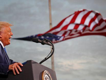 El presidente de los Estados Unidos, Donald Trump, durante un mitin en Jacksonville (Florida), en septiembre.