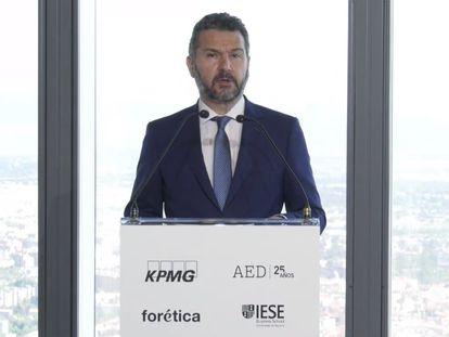 El presidente de la CNMV, Rodrigo Buenaventura, durante su intervención en el Foro Anual del Consejero organizado por KPMG.