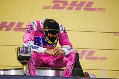 Pérez tras festejar en el podio en el Gran Premio de Sakhir.