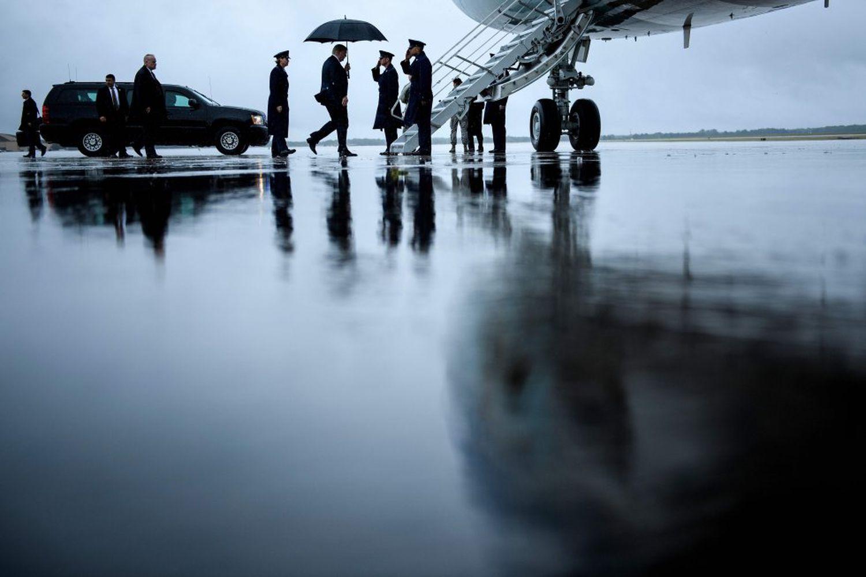 Donald Trump embarca en el 'Air Force One' en julio de 2018 en la base aérea de Andrews (Maryland).
