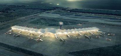 Imagen virtual de la terminal satélite que Aena proyecta construir en la T1.