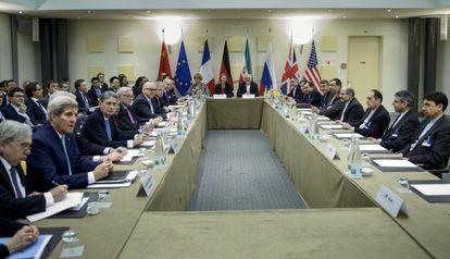 Negociación en Lausana (Suiza), este martes, sobre el acuerdo nuclear.