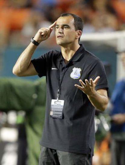 Roberto Martínez, en un partido de pretemporada