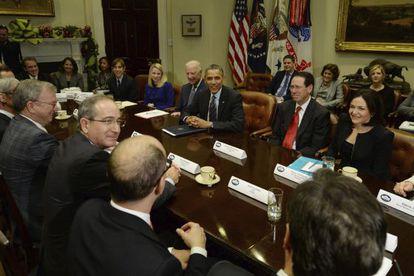Barack Obama se reúne con directivos de empresas tecnológicas en la Casa Blanca.