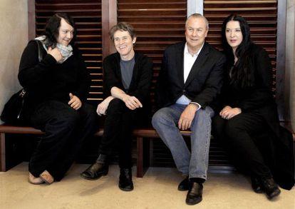De izquierda a derecha, Antony, Willem Dafoe, Bob Wilson y Marina Abramovic presentan en Madrid la ópera sobre la biografía de la 'performer' serbia.