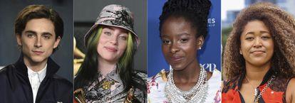 El actor Timothée Chalamet, la cantante Billie Eilish, la poeta Amanda Gorman y la tenista Naomi Osaka.