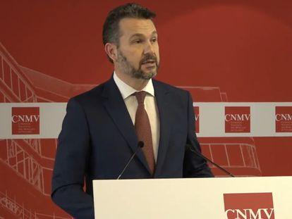 El nuevo presidente de la CNMV, Rodrigo Buenaventura, en la toma de posesión de su cargo en Madrid la semana pasada.