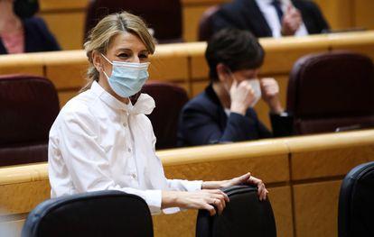 GLa ministra de Trabajo, Yolanda Díaz, durante la sesión de control al Gobierno celebrada ayer en el Senado, en Madrid.
