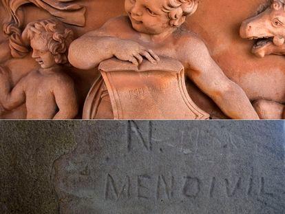 Grafiti con la inscripción 'Espedicion' que dejó Nicomedes de Mendívil. Abajo, la firma del grafitero en el sillar encontrado.