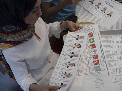 Papeletas de las elecciones presidenciales turcas del 24 de junio de 2018.