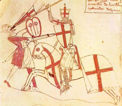 Ilustración de los Usatges de Barcelona del siglo XIV.