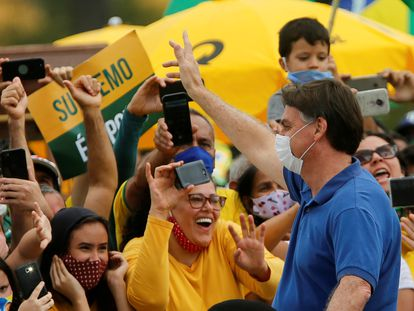 El presidente de Brasil, Jair Bolsonaro, durante una protesta el pasado 17 de mayo.