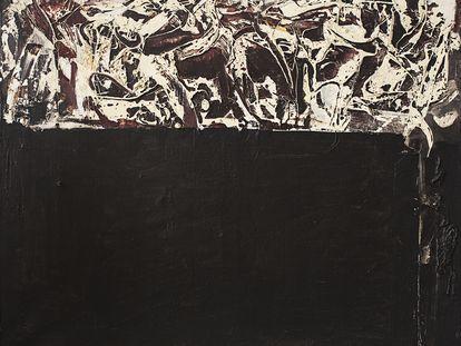 'Barbecho', obra informalista de Rafael Canogar realizada en 1963.