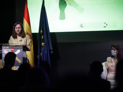 La ministra de Derechos Sociales y Agenda 2030, Ione Belarra, este miércoles en un acto en Madrid.