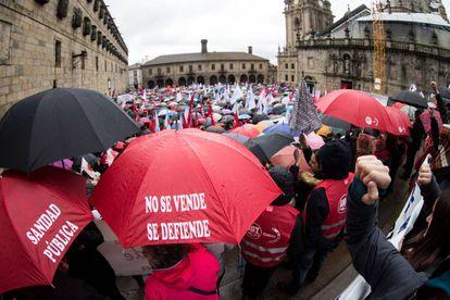 Manifestación este domingo en Santiago en defensa de la sanidad pública.