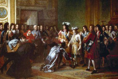 En este óleo de François Gerard, Luis XIV presenta a su nieto, el duque de Anjou, como nuevo Rey de España.