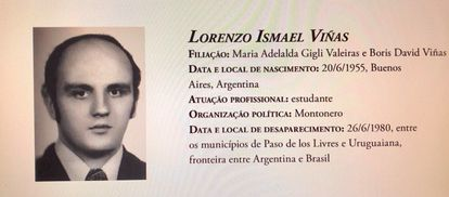 Reproducción de la ficha de la Comisión Nacional de la Verdad del desaparecido ítalo-argentino Lorenzo Ismael Vinãs.