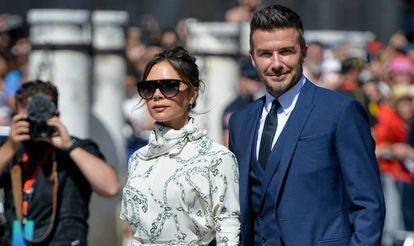 David y Victoria Beckham en la boda de Sergio Ramos y Pilar Rubio, el 15 de junio de 2019 en Sevilla.