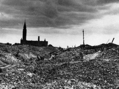 El gueto de Varsovia tras su liquidación en torno a 1943.