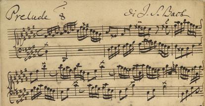 Manuscrito autógrafo del comienzo del Preludio núm. 8 del segundo libro de 'El clave bien temperado' de Johann Sebastian Bach
