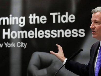 El alcalde de Nueva York, Bill de Blasio, durante una conferencia de prensa el pasado 28 de febrero.