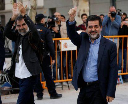 Jordi Cuixart (izquierda) y Jordi Sanchez (derecha) este lunes.