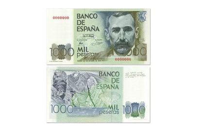 Imagen de Benito Pérez Galdós en un billete de 1.000 pesetas, con las Cañadas del Teide y el Drago milenario en el reverso.