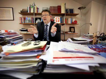 Ximo Puig, durante la entrevista realizada en su despacho de la sede del PSPV en Valencia.