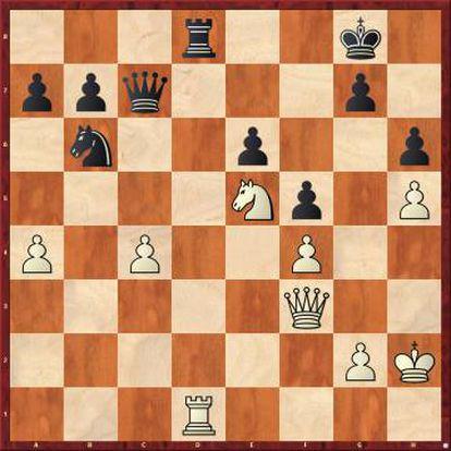 El error de Firouzja 30 ...Td8? fue castigado con gran brillantez con Nakamura: 31 Dxb7!! Dxb7 32 Txd8+ Rh7 33 Cg6, y hay que entregar la dama con 33 ...Dc8, con un final perdido