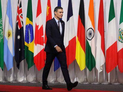 El presidente español, Pedro Sánchez, en la cumbre del G20 en Osaka (Japón).