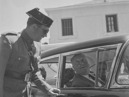 Alfred Hitchcock en San Sebastián el 31 de julio 1958.