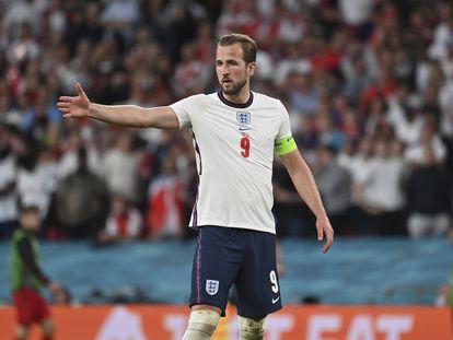 Harry Kane, durante la semifinal contra Dinamarca en Wembley.