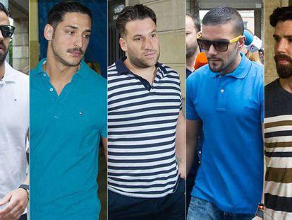 Los miembros de La Manada, (Guerrero, Cabezuelo, Prenda, Boza y Escudero) ante en los juzgados de Sevilla en 2018.